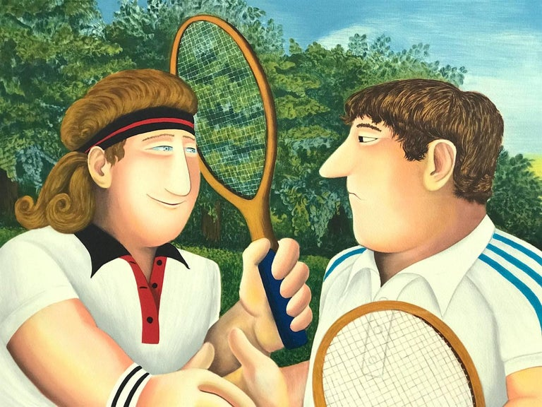 TENNIS, Borg Vs. Connors, Hand Drawn Limited Edition Lithograph, British Humour - Print by Beryl Cook