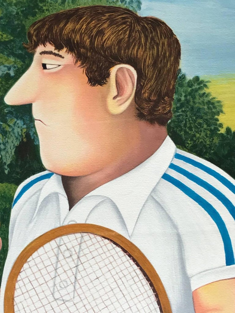 TENNIS is a hand drawn, pencil signed limited edition lithograph by the well known and loved British artist and humorist, Beryl Cook. Printed on archival Arches paper, 100% acid free, print size 34