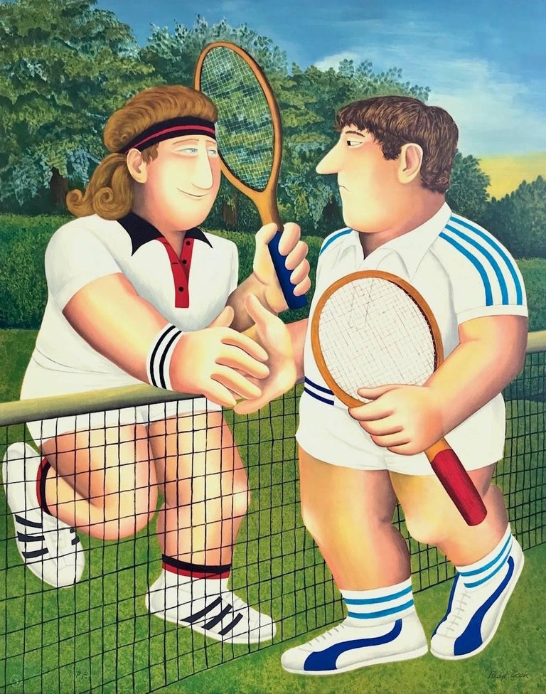Beryl Cook Figurative Print - TENNIS, Borg Vs. Connors, Hand Drawn Limited Edition Lithograph, British Humour