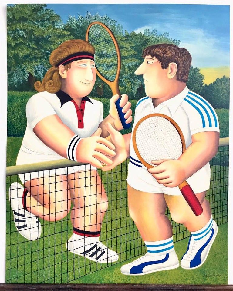 TENNIS, Borg Vs. Connors, Hand Drawn Limited Edition Lithograph, British Humour For Sale 2