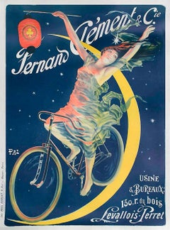 Fernand Clement Bicycles, Hand Drawn Lithograph, Oversize Art Poster 52""