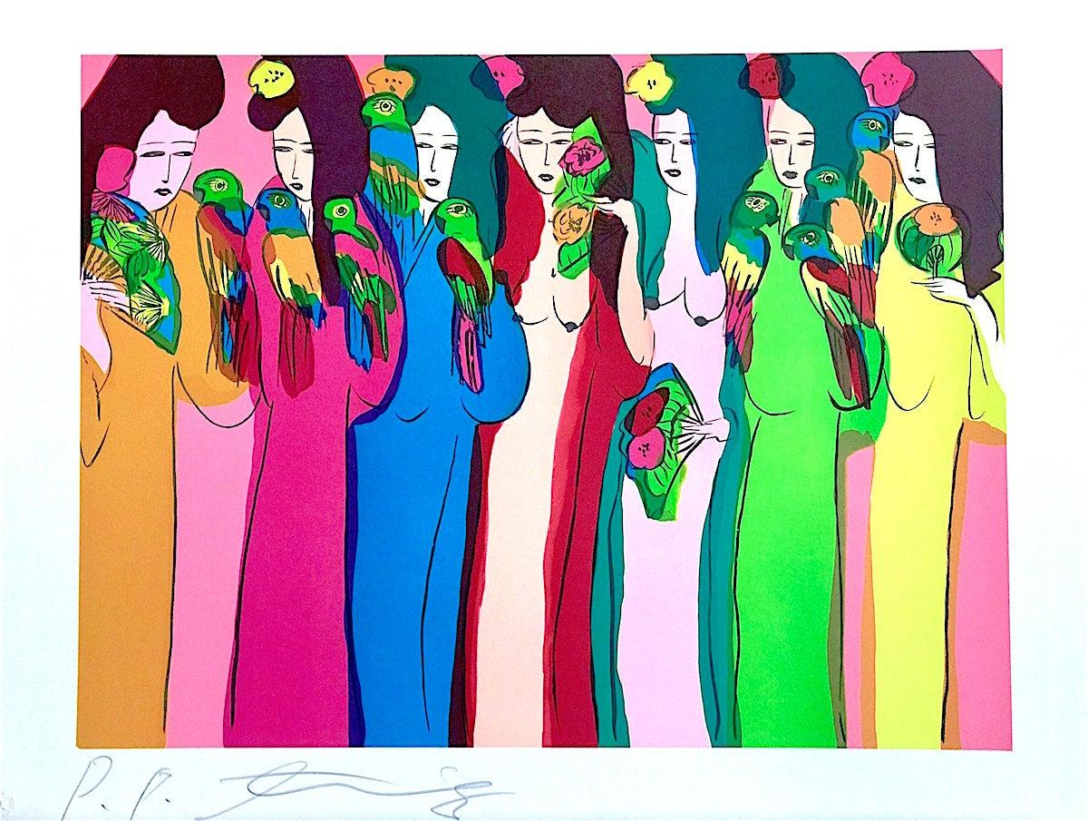 LADIES WITH PARROTS Signed Lithograph, Asian Women, Multicolor Parrots, Kimonos