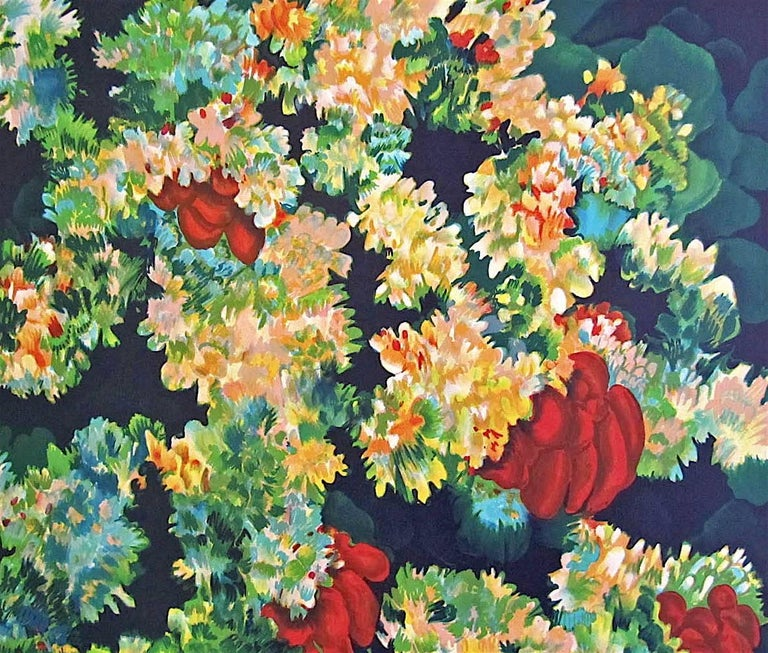 Coral 7 - Red, Original Lithograph, Nature Abstract, Coral Reef