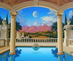 Villa Visconti,  Signed Original Serigraph, Greek Style Mediterrenean Landscape