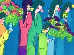 Six Geishas With Flowers, Signed Original Lithograph, Asian Women