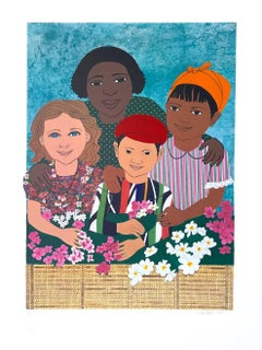 Children With Flowers, Stripes, Print Fabric Collage, Multicultural Portrait
