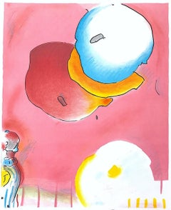 Two Floating, Original Lithograph, Meditative Abstract, Happy Colors
