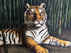 Bengal Tiger Portrait, Bamboo Forest India, Hand drawn lithograph, Wildlife Art