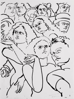 NY Street Scene I, Hand Drawn Lithograph, Expressionist Crowd Portrait