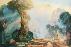 Plains Of Jupiter, Hand Drawn Lithograph, Visionary Surrealist Landscape