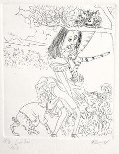 Alice In Wonderland: Cheshire Cat, Hand signed Etching, Erotica