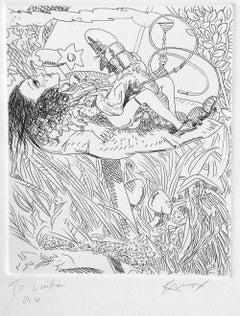 Alice In Wonderland: Hookah Smoking Caterpillar, Hand signed Etching, Erotica