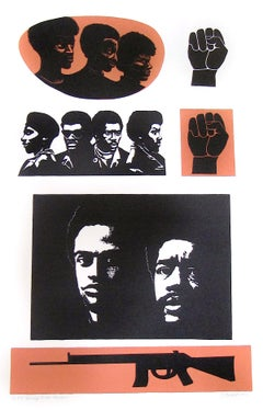 Homage To The Panthers, Signed Lithograph, 1960's Black Power
