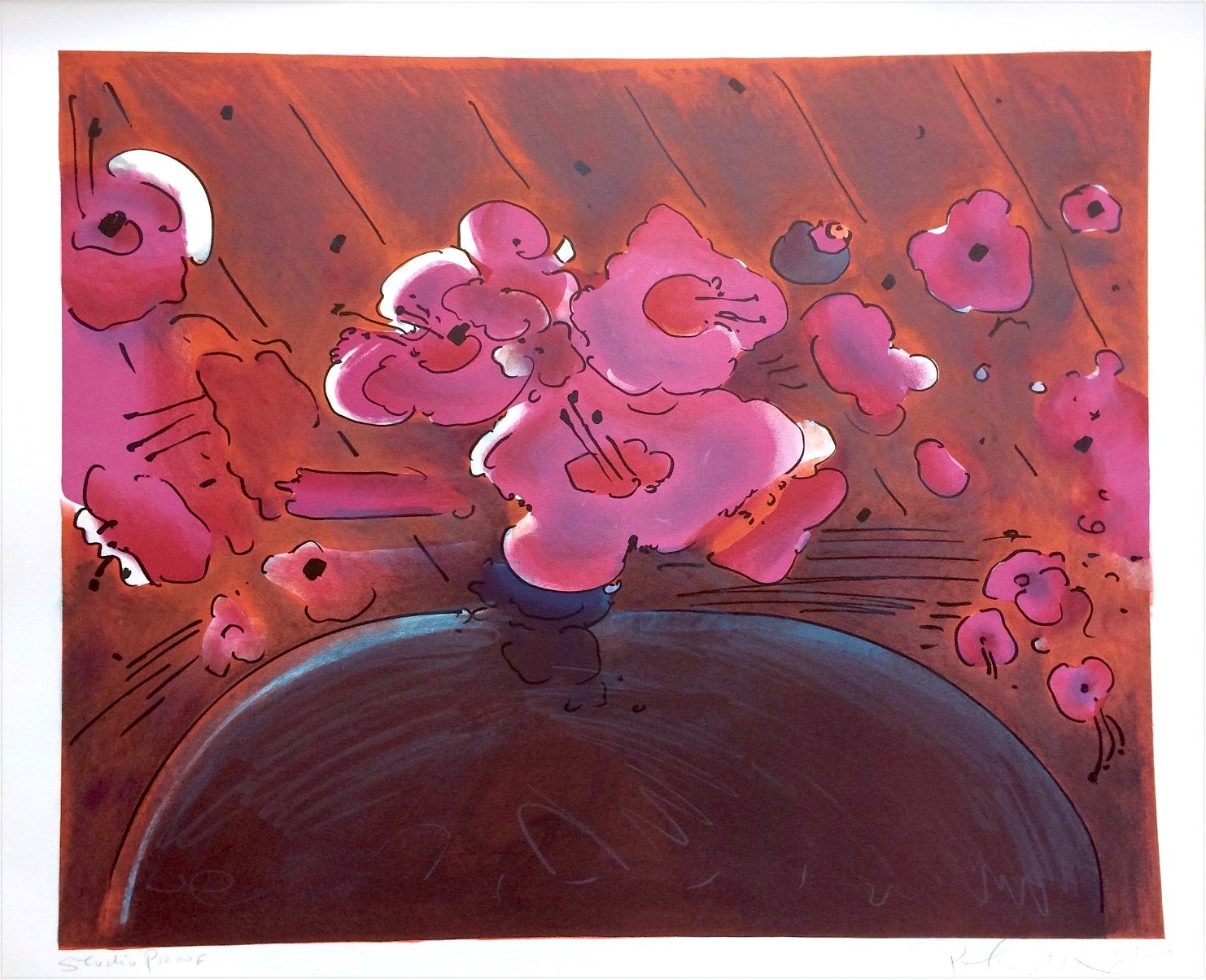 MARILYN'S FLOWERS II, Signed Lithograph, Abstract Floral, Orange, Pink, Brown