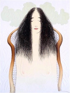 Breakfast Meditation, Signed Lithograph with Blind Embossing, Asian Female Nude