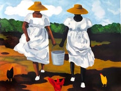 Sharing The Chores, Signed Lithograph, African American Heritage, Gullah Culture