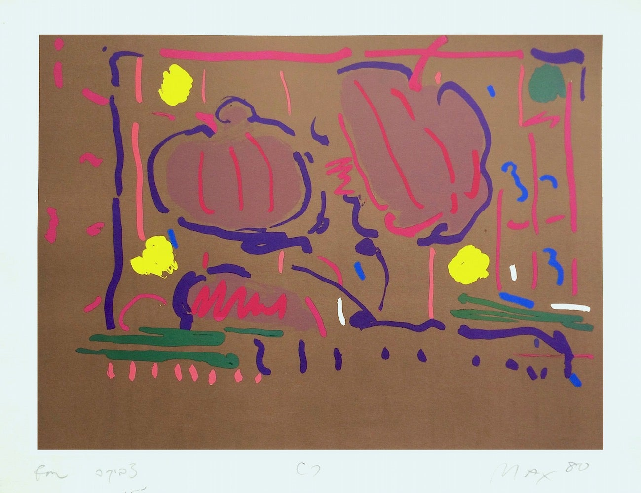 EARTH FLOWERS Signed Lithograph, Abstract Floral, Brown, Yellow, Magenta, Purple