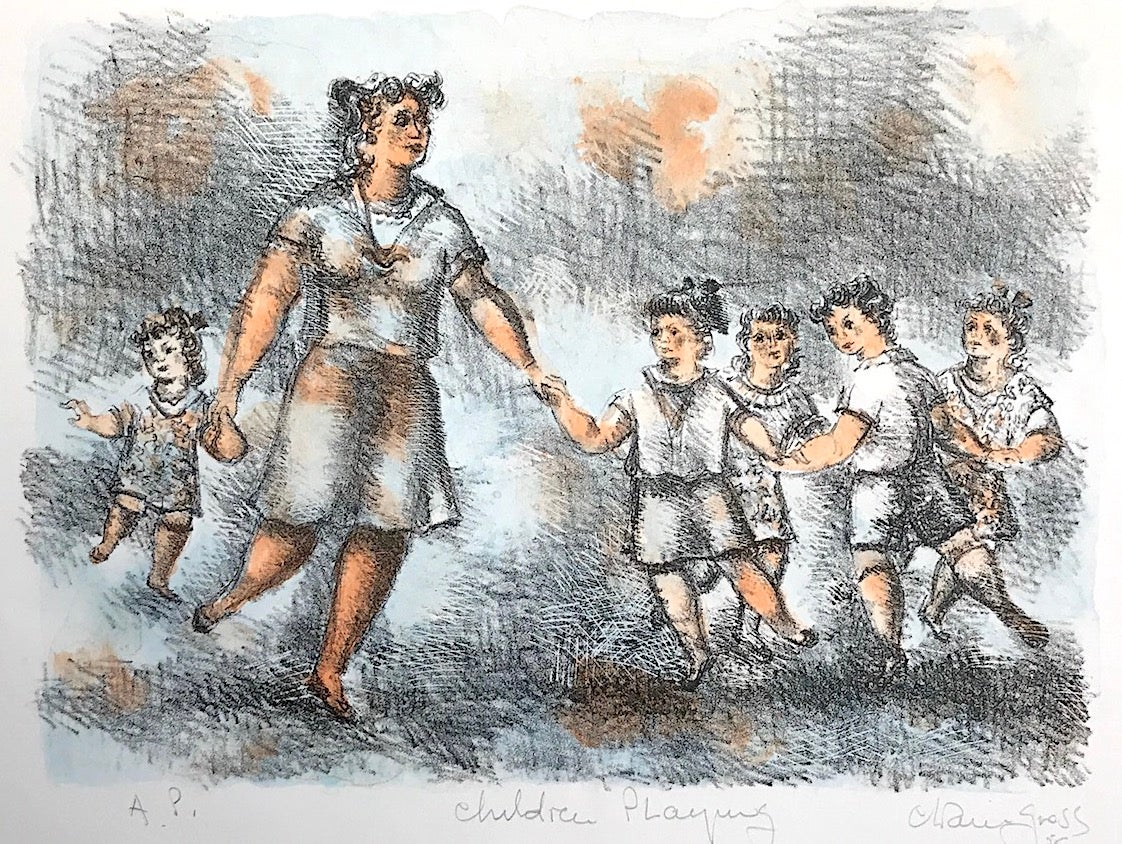 CHILDREN PLAYING Signed Lithograph, Pencil Drawing Woman and Children Playing