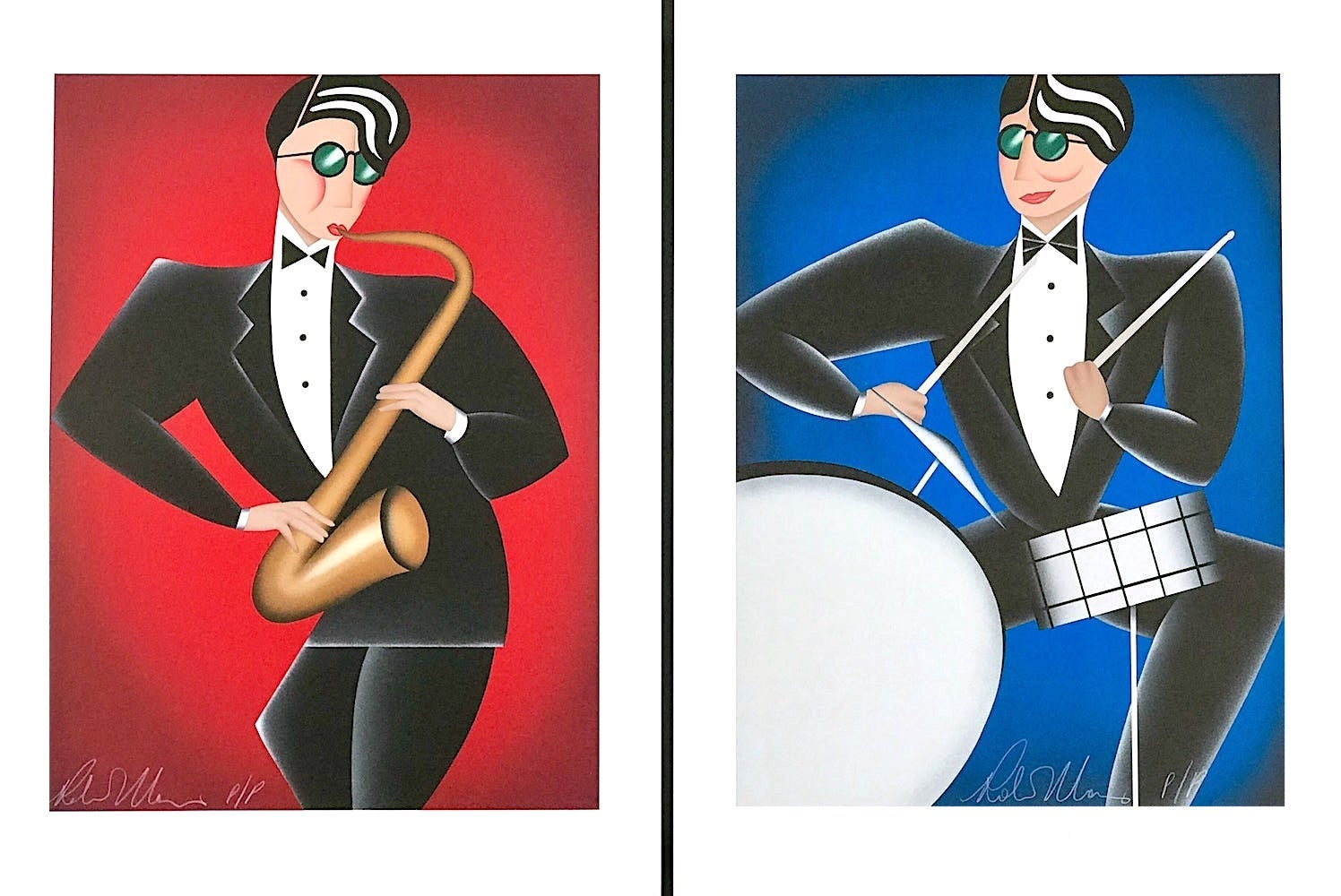 RED HOT/COOL BLUE, 2 Signed Lithographs, Musical Portrait, Saxophone Drums, Jazz
