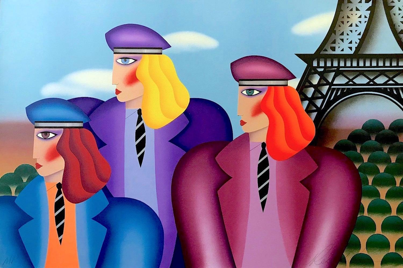 PARIS RAGE Signed Lithograph, Women Portrait, Eiffel Tower Paris, Color Berets