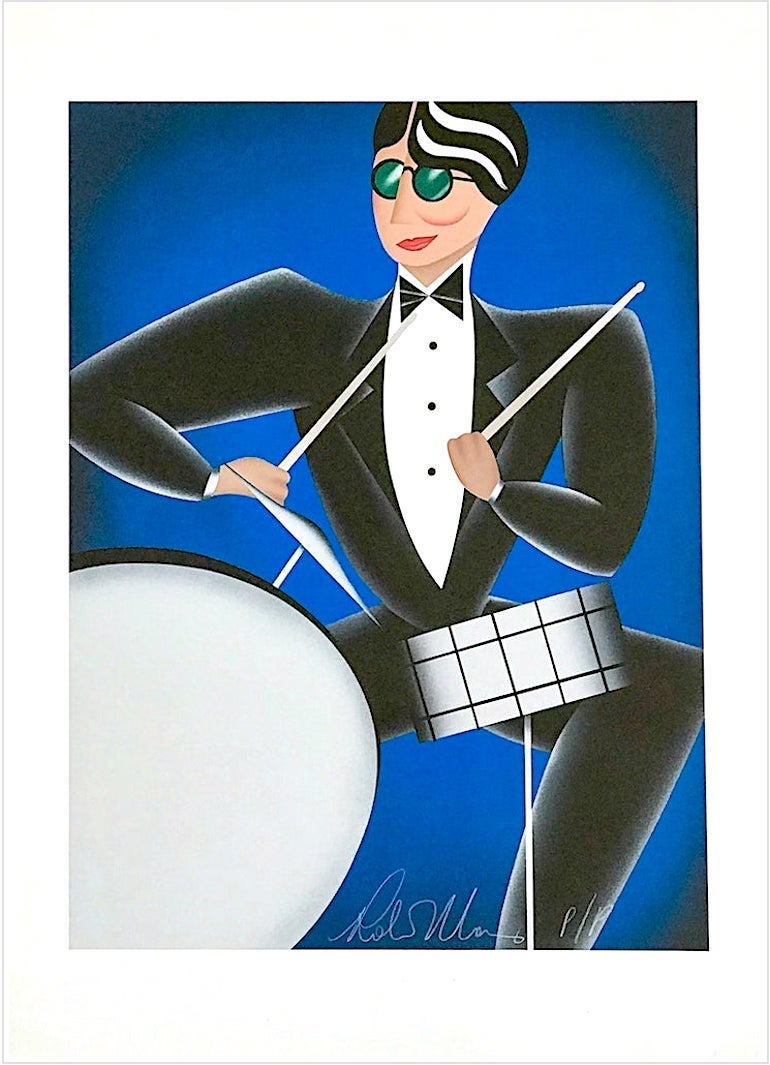 COOL BLUE Signed Lithograph, Modern Art Deco Portrait, Drums Jazz Music