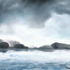 Blue Wake I, 2016, Coastal Landscape Fine Art Painting, Acrylic on Canvas