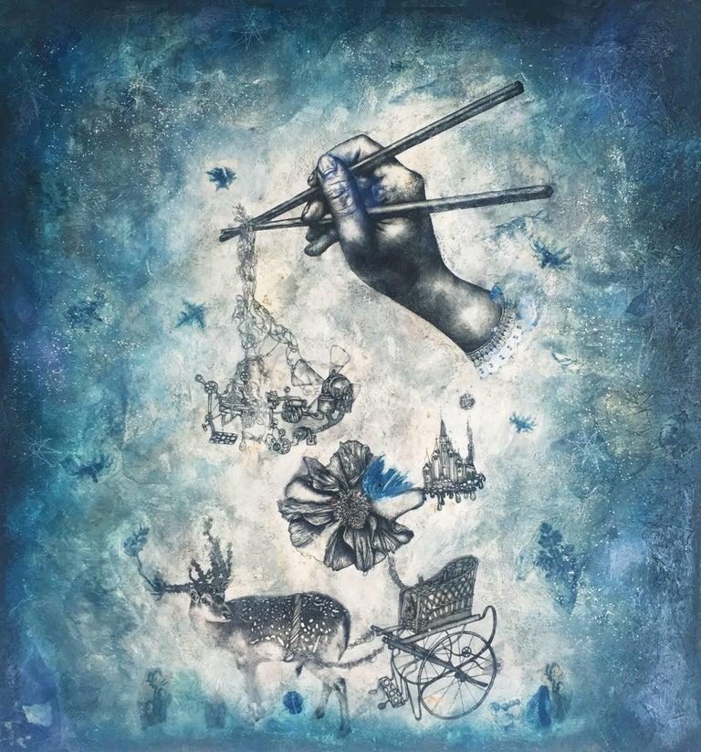 """Kuaizi Etiquette"" surrealism painting with augmented reality - Mixed Media Art by Sarah Tse"