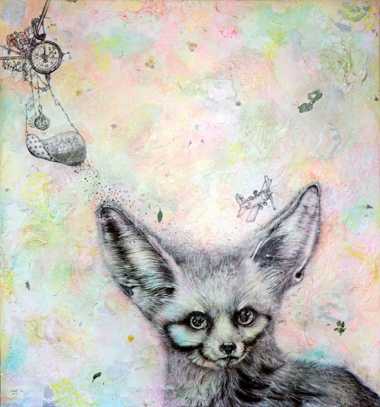 """What's the Time Mr. Fox?"" Surrealism painting with animals, augmented reality  - Mixed Media Art by Sarah Tse"