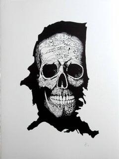 """Skull On The Map"" - skull pen drawing on paper"