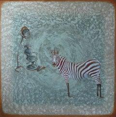 """Beauty Deal"" - Zebra painting, blue tones"