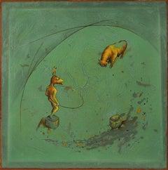 """Saltimbanco"" - Acrylic painting, blue/green colors, Latin-American art"