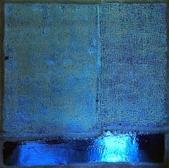 """Midnight in Paris"" - Blue metallic abstract painting"