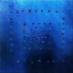 """""""Vox Populi"""" - Blue metallic abstract painting"""