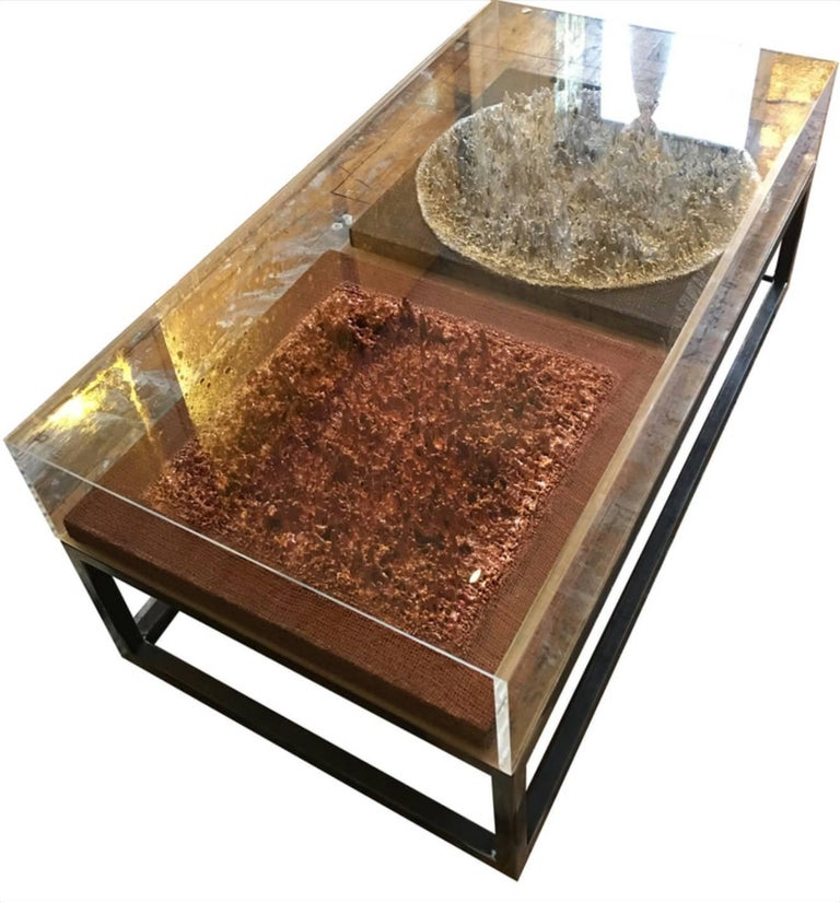 Eddy Mendoza Table Collection - Lucy Coffee Table with metal 3D artwork