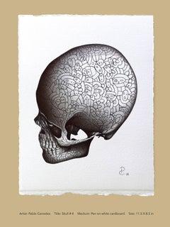 """""""Skull 4"""" - skull pen drawing on paper"""