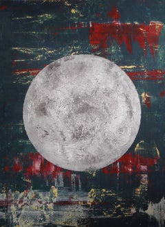 """Olympia"" - abstract painting with silver planet"