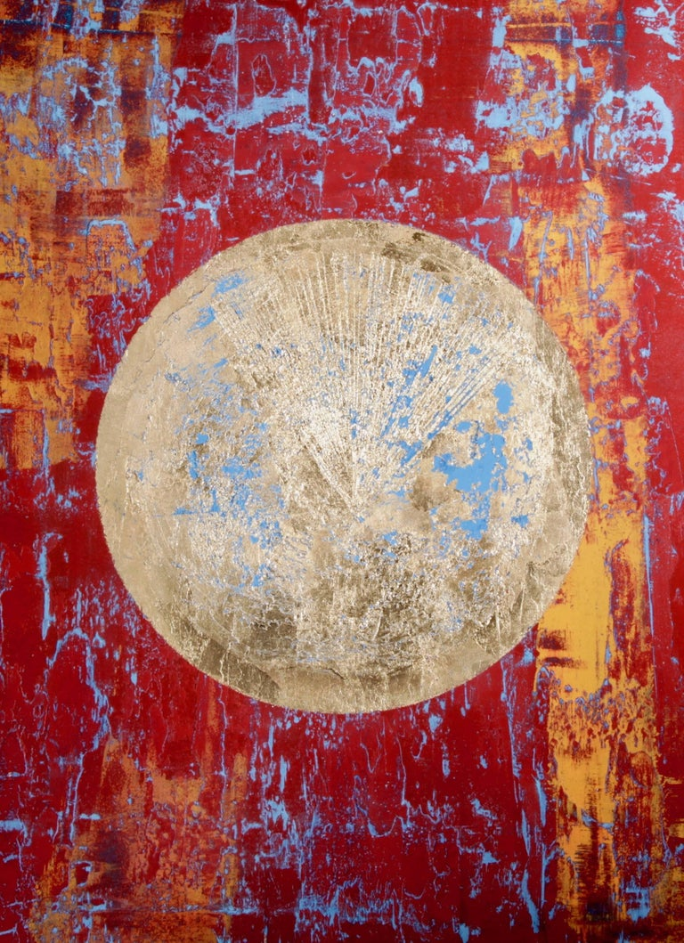 """Cheyenne"" - red abstract painting with gold planet"