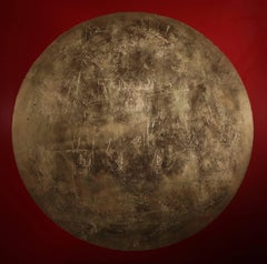 """""""Cyypress"""" - red abstract painting with gold planet"""