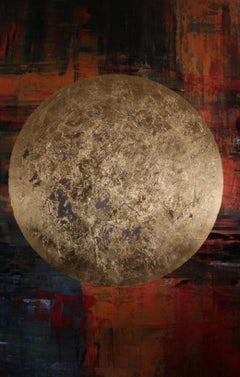 """""""Howard"""" - abstract painting, earth tones with gold planet"""