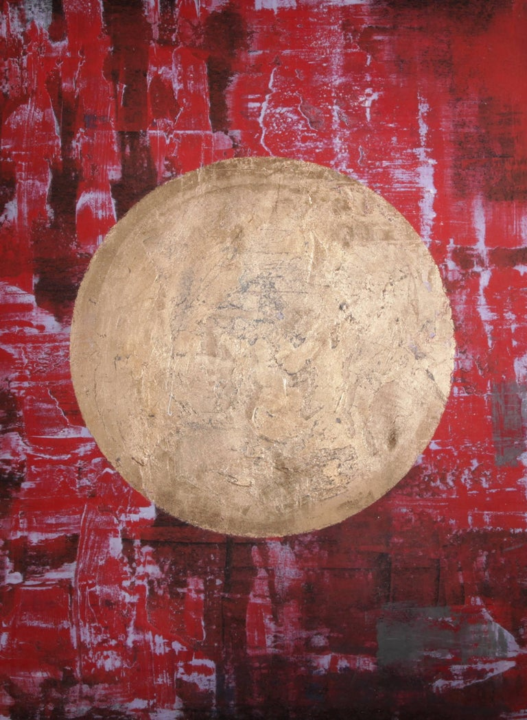 """Trenton"" - abstract painting, red colors with gold planet"