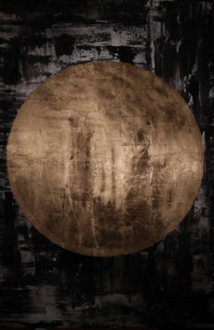 """""""Wen"""" - abstract painting, dark colors with gold planet"""
