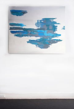"""""""Untitled 3"""" - blue abstract painting on metal"""