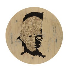 """Andy Warhol's portrait """"On The Map"""" - Acrylic on wood, circle wall art"""