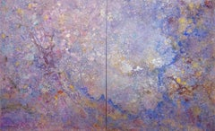 Looking Glass (Purple, Violet, Blue, Gold, Abstract Expressionist Painting)