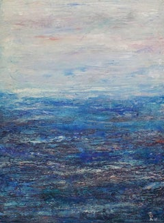 Escape (Blue, White, Water, Sky, Abstract Expressionist Painting)