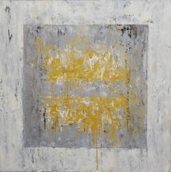 Ice Cube 4 (Gold, Yellow, White, Gray, Silver, Abstract Expressionist Painting)