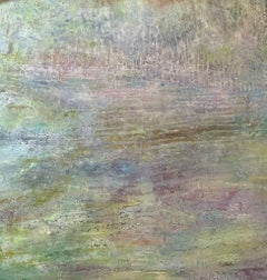 Spring Fantasy (Green, Purple, Gray, Pastel, Abstract Expressionist Painting)