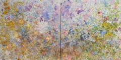 Shangri la 5 (Purple, Blue, Green, Gold, Yellow Abstract Expressionist Painting)