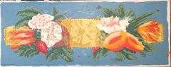 Barette, Blue (Floral, Fruit, Contemporary Ornamentalism, Porchoir Monoprint)