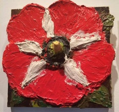 Red Stop (Fat Flowers Series, Contemporary Ornamentalism, Mixed Media Painting)
